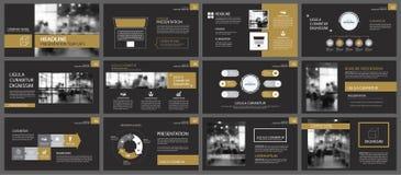 Шаблоны представления черного золота и предпосылка элементов infographics Польза для годового отчета дела, рогульки, корпоративно иллюстрация штока