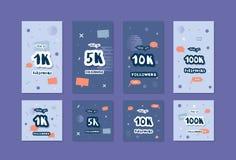 Шаблоны средств массовой информации вектора социальные Знамена 1K, 5K, 10K, следующих 100K иллюстрация вектора