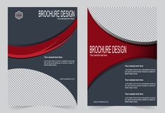 Шаблон брошюры, дизайн рогульки шаблон серого и красного цвета Стоковые Изображения RF