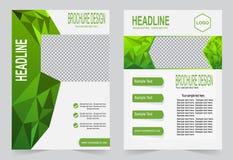 Шаблон брошюры, шаблон зеленого цвета дизайна рогульки иллюстрация штока