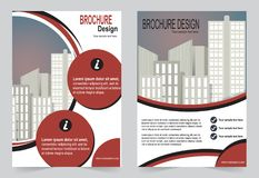 Шаблон брошюры, шаблон красного цвета дизайна рогульки иллюстрация штока