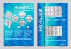 Шаблон брошюры, шаблон сини дизайна рогульки иллюстрация вектора