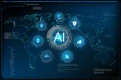 Шаблон вебсайта для концепции научной фантастики технологии обучения машины ai глубокой иллюстрация вектора