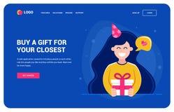 Шаблон вебсайта для тех которые хотят подарок Девушка держа подарок и усмехаться день рождения, характер иллюстрация вектора
