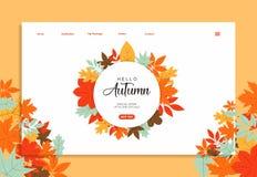 Шаблон вебсайта с дизайном цвета осени иллюстрация вектора