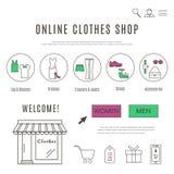 Шаблон веб-дизайна магазина одежд и аксессуаров онлайн Стоковое фото RF