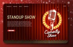 Шаблон вектора вебсайта страницы Standup шоу приземляясь иллюстрация вектора