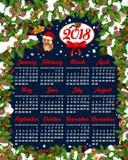 Шаблон 2018 вектора календаря Нового Года рождества Стоковое Изображение