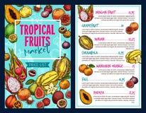 Шаблон вектора тропических плодоовощей бесплатная иллюстрация