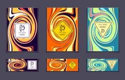 Шаблон вектора установленный с абстрактной мраморной текстурой красочной Стоковое Изображение