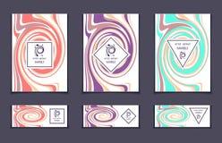 Шаблон вектора установленный с абстрактными мраморными пастельными цветами текстуры на белизне Стоковое Изображение RF