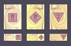 Шаблон вектора установленный с абстрактными мраморными пастельными цветами текстуры для брошюры обложки книги или для ярлыка знам Стоковое Фото