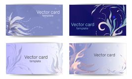 Шаблон визитной карточки в голубых тенях с флористическим орнаментом Рамка текста Абстрактное геометрическое знамя иллюстрация штока