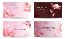 Шаблон визитной карточки в розовых тенях с флористическим орнаментом Рамка текста Абстрактное геометрическое знамя бесплатная иллюстрация