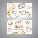 Шаблон визитной карточки хлебопекарни с печеньями Сладостное печенье, пирожные, карточки с шоколадным тортом, помадки десерта льд Стоковые Изображения