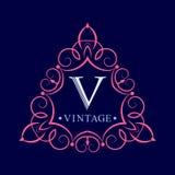 Шаблон винтажного логотипа Инициалы вензеля Грациозные границы Декоративный орнамент лист иллюстрация вектора