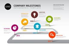 Шаблон временной последовательности по основных этапов работ Вектора Infographic Компании Стоковое Изображение
