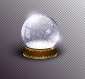 Шаблон глобуса снега вектора пустой изолированный на прозрачной предпосылке Шарик волшебства рождества Купол стеклянного шарика,  стоковые фото