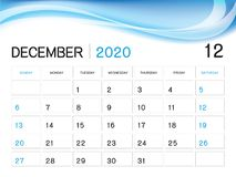 Шаблон года ДЕКАБРЯ 2020, вектор 2020, дизайн настольного календаря, начал иллюстрация штока
