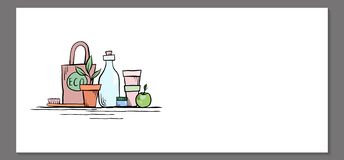 Шаблон горизонтального знамени с объектами нул отходов eco дружелюбными иллюстрация штока