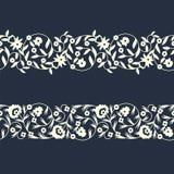 Шаблон границы вектора безшовный восточный florish конструируйте для крышек, печати, woodblock, карточек иллюстрация вектора