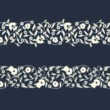 Шаблон границы вектора безшовный восточный florish конструируйте для крышек, печати, woodblock, карточек бесплатная иллюстрация