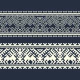 Шаблон границы вектора этнический геометрический орнаментированный дизайн для woodblock, упаковывая, печать иллюстрация вектора