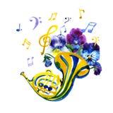 Шаблон графика музыкальных инструментов Иллюстрация акварели лета французский рожочок Стоковое Фото