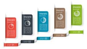 Шаблон дела 5 шагов infographic Смогите быть использовано для представления, веб-дизайна, плана потока операций, знамени, диаграм Стоковая Фотография RF