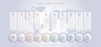 Шаблон диаграммы пузыря цвета Infographics для 10 положений Стоковые Изображения
