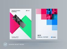 Шаблон дизайна брошюры прямоугольный Красочный современный комплект конспекта, годовой отчет с формами для клеймить иллюстрация вектора