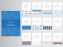 Шаблон дизайна вектора календаря 2018 с абстрактной картиной, комплектом 12 месяцев, иллюстраций Стоковое Фото