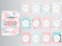 Шаблон дизайна вектора календаря 2016 с абстрактной картиной Стоковые Изображения
