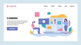 Шаблон дизайна градиента вебсайта вектора Онлайн образование и курсы Приземляясь концепции страницы для вебсайта и черни иллюстрация вектора