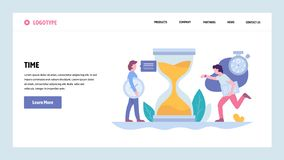 Шаблон дизайна градиента вебсайта PVector Крайний срок и контроль времени проекта дела Концепции страницы посадки для иллюстрация вектора