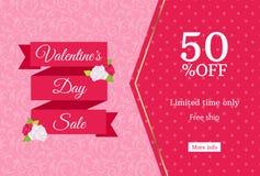 Шаблон дизайна знамени сети продажи дня валентинок Розовая плоская лента на флористической предпосылке Точечный растр польки 50 п Стоковое Изображение
