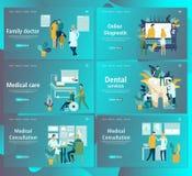 Шаблон дизайна интернет-страницы для онлайн медицинского обеспечения, зубоврачебных обслуживаний стоковое фото rf