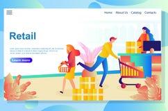 Шаблон дизайна интернет-страницы для онлайн покупок, электронной коммерции, розничной концепции бесплатная иллюстрация