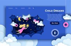 Шаблон дизайна искусства бумаги вебсайта вектора Ребенок касаясь звездам в небе Мечта детей Иллюстрация страницы посадки иллюстрация вектора