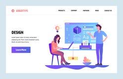 Шаблон дизайна искусства вебсайта вектора линейный Дизайн уча курс Онлайн школа образования и дизайна Страница посадки бесплатная иллюстрация