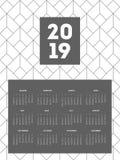 шаблон дизайна 2019 календарей с картинами Стоковая Фотография