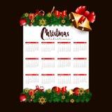 шаблон 2019 дизайна календаря украшения рождества или Нового Года иллюстрация вектора