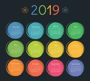 Шаблон дизайна календаря 2019 цветасто Старты недели на воскресенье иллюстрация вектора
