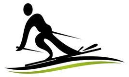 Шаблон дизайна логотипа лыжи Стоковая Фотография
