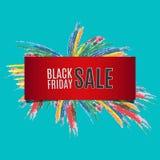 Шаблон дизайна надписи продажи Ack пятницы Черное знамя пятницы также вектор иллюстрации притяжки corel Стоковые Фото