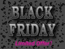 Шаблон дизайна надписи черной продажи пятницы винтажный Черное знамя пятницы с предпосылкой центов долларов символов валюты трет Стоковое Изображение RF