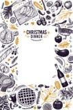 Шаблон дизайна обедающего счастливого рождеств Illust руки вектора вычерченное стоковые изображения
