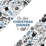 Шаблон дизайна обедающего счастливого рождеств Illust руки вектора вычерченное стоковое фото rf