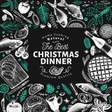 Шаблон дизайна обедающего счастливого рождеств Illust руки вектора вычерченное стоковые фото