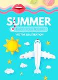 Шаблон дизайна плана летних каникулов с самолетом, морем, Солнцем, пляжем и зонтиками, бумажным искусством взгляд сверху, стоковое изображение